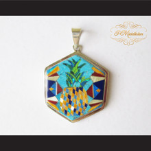 P Middleton Pineapple Pendant Sterling Silver .925 Micro Inlays