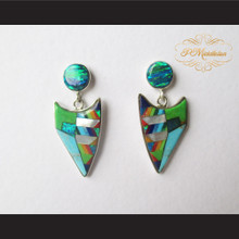P Middleton Fox Head Inlay Design Earrings Sterling Silver .925
