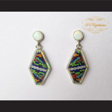 P Middleton Shield Shape Micro Inlay Design Earrings Sterling Silver .925