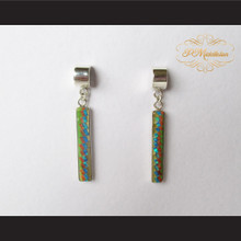 P Middleton Tall Rectangle Inlay Design Earrings Sterling Silver .925