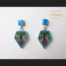 P Middleton Irregular Pentagon Inlay Design Earrings Sterling Silver .925