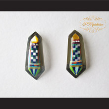 P Middleton Multi-Stone Inlay Curved Earrings Sterling Silver .925