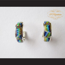 P Middleton Small Hoop Design Multi-Stone Inlay Earrings Sterling Silver .925