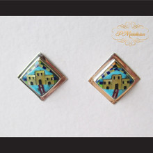 P Middleton Adobe Home Design Multi-Stone Inlay Earrings Sterling Silver .925