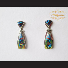 P Middleton Geometric Design Multiple-Stone Inlay Earrings Sterling Silver .925