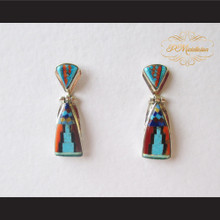 P Middleton Geometric Design Stone Inlay Earrings Sterling Silver .925