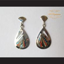 P Middleton Teardrop Design Earrings Sterling Silver .925