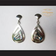 P Middleton Teardrop Design Inlay Stones Earrings Sterling Silver .925