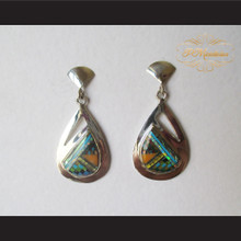 P Middleton Teardrop Inlay Stone Design Earrings Sterling Silver .925