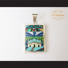 P Middleton Family Home Pendant Sterling Silver .925 Micro Stone Inlays
