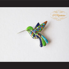 P Middleton Hummingbird Brooch Pin Sterling Silver .925 with Micro Inlay Stones