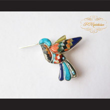 P Middleton Hummingbird Brooch/Pendant Sterling Silver .925 with Micro Inlay Stones