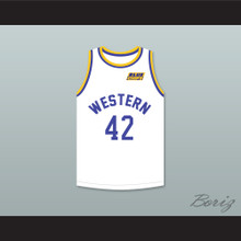 Matt Nover Ricky Roe 42 Western University White Basketball Jersey with Blue Chips Patch