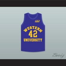 Matt Nover Ricky Roe 42 Western University Blue Basketball Jersey with Blue Chips Patch
