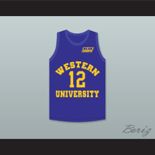 Action Bronson 12 Western University Blue Basketball Jersey with Blue Chips Patch