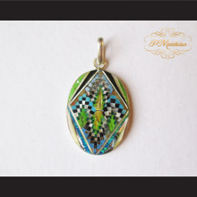 P Middleton Oval Pendant Sterling Silver .925 Micro Inlay Stone Design
