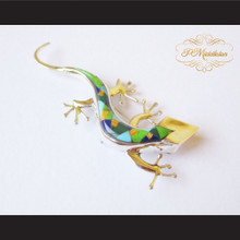 P Middleton Gecko Brooch Sterling Silver .925 with Micro Inlay Stones