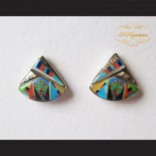 P Middleton Curvilinear Triangle Wedge Design Earrings Sterling Silver .925