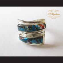 P Middleton Stone Inlays Design Sterling Silver .925 Wrap Around Ring