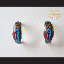 P Middleton Multi-Stone Inlay Mini Hoop Design Earrings Sterling Silver .925