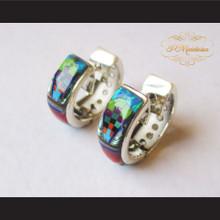 P Middleton Multi-Stone Inlays Huggie Hoop Design Earrings Sterling Silver .925