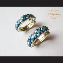 P Middleton Multi-Stone Inlay Huggie Hoop Design Earrings Sterling Silver .925
