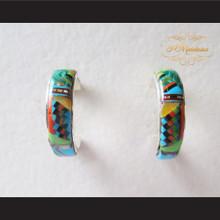 P Middleton Multi-Stone Inlays 3/4 Hoop Design Earrings Sterling Silver .925