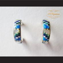 P Middleton Multi-Stone Inlay 3/4 Hoop Design Earrings Sterling Silver .925