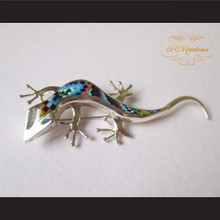 P Middleton Gecko Lizard Brooch Sterling Silver .925 with Micro Inlay Stones