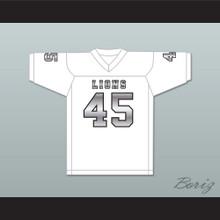 Caleb Grant 45 EMCC Lions White Alternate Football Jersey
