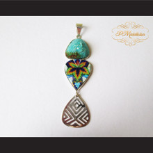 P Middleton Hand Carved Tribal Chief Pendant Sterling Silver .925 Micro Stone Inlays