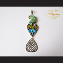 P Middleton Hand Carved Eagle Pendant Sterling Silver .925 Micro Stone Inlays
