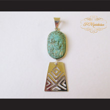 P Middleton Hand Carved Turquoise Chief Pendant Sterling Silver .925