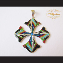 P Middleton Floral Cross Pendant Sterling Silver .925 Micro Stone Inlays