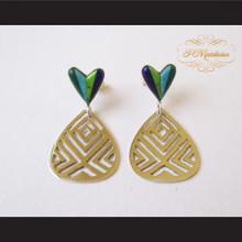 P Middleton Heart Earrings Sterling Silver .925