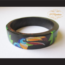 P Middleton Camagong Wood Bangle Toucan Flower Inlay Design
