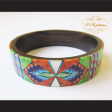 P Middleton Camagong Wood Bangle Elaborate Geometric Micro Inlay Design
