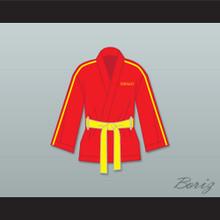 Ivan Drago Russia Red Satin Half Boxing Robe