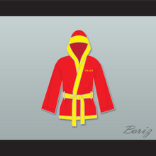 Ivan Drago Russian Red Satin Half Boxing Robe with Hood