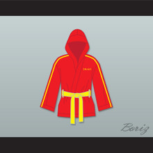Ivan Drago Russia Red Satin Half Boxing Robe with Hood