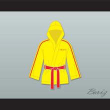 Ivan Drago Russia Yellow Satin Half Boxing Robe with Hood