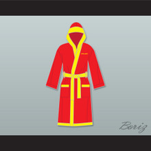 Ivan Drago Russian Red Satin Full Boxing Robe with Hood