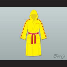 Ivan Drago Russia Yellow Satin Full Boxing Robe with Hood