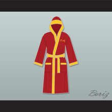 Rocky Italian Stallion Shamrock Meats Maroon Satin Full Boxing Robe with Hood