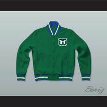 Hartford Whalers Hockey Green Letterman Jacket-Style Sweatshirt