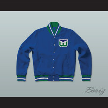 Hartford Whalers Hockey Blue Letterman Jacket-Style Sweatshirt