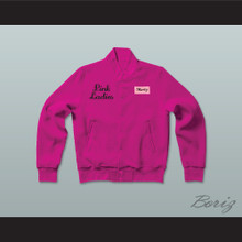 Marty Maraschino Pink Ladies Letterman Jacket-Style Sweatshirt Hot Pink