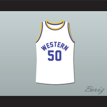 Shaq Neon Boudeaux Western University White Basketball Jersey Blue Chips Movie
