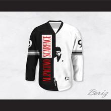 Al Pacino 9 Scarface Black and White Hockey Jersey