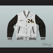 Hooligans 24 K White and Black Varsity Letterman Jacket-Style Sweatshirt